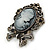 Vintage Inspired Crystal Cameo With Bow Brooch/ Pendant In Antique Silver Metal - 45mm Length - view 2