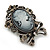 Vintage Inspired Crystal Cameo With Bow Brooch/ Pendant In Antique Silver Metal - 45mm Length - view 3