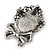 Vintage Inspired Crystal Cameo With Bow Brooch/ Pendant In Antique Silver Metal - 45mm Length - view 4