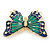 Green/ Dark Blue Enamel, Crystal Butterfly Brooch In Gold Tone - 55mm L - view 3