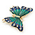 Green/ Dark Blue Enamel, Crystal Butterfly Brooch In Gold Tone - 55mm L - view 4