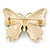 Green/ Dark Blue Enamel, Crystal Butterfly Brooch In Gold Tone - 55mm L - view 5