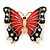 Red/ Black Enamel, Crystal Butterfly Brooch In Gold Tone - 55mm L