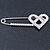 Rhodium Plated Clear Crystal Heart Safety Pin Brooch - 85mm L - view 5