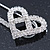 Rhodium Plated Clear Crystal Heart Safety Pin Brooch - 85mm L - view 3