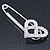 Rhodium Plated Clear Crystal Heart Safety Pin Brooch - 85mm L - view 6