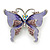 Purple Enamel Crystal Butterfly Brooch In Rhodium Plating - 50mm W