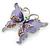 Purple Enamel Crystal Butterfly Brooch In Rhodium Plating - 50mm W - view 2