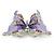 Purple Enamel Crystal Butterfly Brooch In Rhodium Plating - 50mm W - view 5