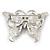 Purple Enamel Crystal Butterfly Brooch In Rhodium Plating - 50mm W - view 6