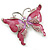 Pink Enamel Crystal Butterfly Brooch In Rhodium Plating - 50mm W - view 3