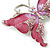 Pink Enamel Crystal Butterfly Brooch In Rhodium Plating - 50mm W - view 4