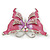Pink Enamel Crystal Butterfly Brooch In Rhodium Plating - 50mm W - view 5