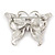 Pink Enamel Crystal Butterfly Brooch In Rhodium Plating - 50mm W - view 6
