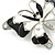Black/ White Enamel Crystal Butterfly Brooch In Rhodium Plating - 50mm W - view 3