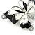 Black/ White Enamel Crystal Butterfly Brooch In Rhodium Plating - 50mm W - view 3