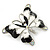 Black/ White Enamel Crystal Butterfly Brooch In Rhodium Plating - 50mm W - view 4