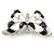 Black/ White Enamel Crystal Butterfly Brooch In Rhodium Plating - 50mm W - view 5
