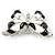Black/ White Enamel Crystal Butterfly Brooch In Rhodium Plating - 50mm W - view 5