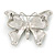 Black/ White Enamel Crystal Butterfly Brooch In Rhodium Plating - 50mm W - view 6