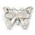 Black/ White Enamel Crystal Butterfly Brooch In Rhodium Plating - 50mm W - view 6