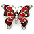 Burgundy/ Red Enamel Crystal Butterfly Brooch In Rhodium Plating - 50mm W