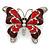 Burgundy/ Red Enamel Crystal Butterfly Brooch In Rhodium Plating - 50mm W