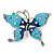 Sky & Royal Blue Enamel Crystal Butterfly Brooch In Rhodium Plating - 55mm W