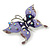 Purple & Violet Enamel Crystal Butterfly Brooch In Rhodium Plating - 55mm W - view 2