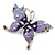 Purple & Violet Enamel Crystal Butterfly Brooch In Rhodium Plating - 55mm W - view 4