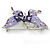 Purple & Violet Enamel Crystal Butterfly Brooch In Rhodium Plating - 55mm W - view 5