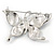 Purple & Violet Enamel Crystal Butterfly Brooch In Rhodium Plating - 55mm W - view 6