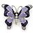 Lilac/ Purple Enamel Crystal Butterfly Brooch In Rhodium Plating - 50mm W