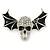 Black Enamel, Clear Crystal Skull with Bat Wings Brooch In Silver Tone - 65mm Across