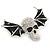 Black Enamel, Clear Crystal Skull with Bat Wings Brooch In Silver Tone - 65mm Across - view 2