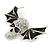 Black Enamel, Clear Crystal Skull with Bat Wings Brooch In Silver Tone - 65mm Across - view 3