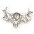 Black Enamel, Clear Crystal Skull with Bat Wings Brooch In Silver Tone - 65mm Across - view 4