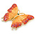 Gigantic Orange/ Pink Enamel, Crystal Butterfly Brooch In Gold Plating - 80mm Across - view 6