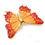Gigantic Orange/ Pink Enamel, Crystal Butterfly Brooch In Gold Plating - 80mm Across - view 5