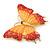 Gigantic Orange/ Pink Enamel, Crystal Butterfly Brooch In Gold Plating - 80mm Across - view 2