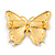 Gigantic Orange/ Pink Enamel, Crystal Butterfly Brooch In Gold Plating - 80mm Across - view 4