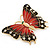 Oversized Red/ Dark Brown Enamel Butterfly Brooch In Gold Plating - 80mm Across - view 2