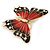 Oversized Red/ Dark Brown Enamel Butterfly Brooch In Gold Plating - 80mm Across - view 5