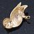 Brown Enamel Austrian Crystal Owl Brooch In Gold Plating - 40mm L - view 4
