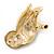 Brown Enamel Austrian Crystal Owl Brooch In Gold Plating - 40mm L - view 5