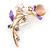 Pink/ Purple Crystal Calla Lily With Cat's Eye Stone Floral Brooch In Gold Tone - 48mm L