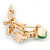 Mint/ Green Crystal Calla Lily With Cat's Eye Stone Floral Brooch In Gold Tone - 48mm L - view 4