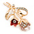 Pink/ Coral Crystal Tulip Brooch In Gold Tone - 55mm L - view 2