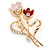 Pink/ Coral Crystal Tulip Brooch In Gold Tone - 55mm L - view 3