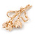 Pink/ Coral Crystal Tulip Brooch In Gold Tone - 55mm L - view 4